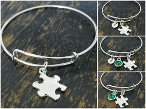Puzzle Piece Charms Autism Awareness MIXED COLORS Open Link Jewelry Lot of 12