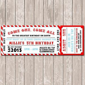 Details About Circus Carnival Themed Ticket Style Birthday Invitation