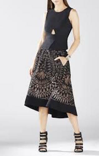 NWT BCBG MaxAzria Elley Sleeveless Peplum Top, Vest, schwarz Größe L