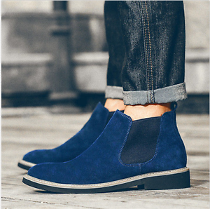 Men Flat Ankle Boots Casual Desert Pull On Chukka Fashion Chelsea High Top shoes