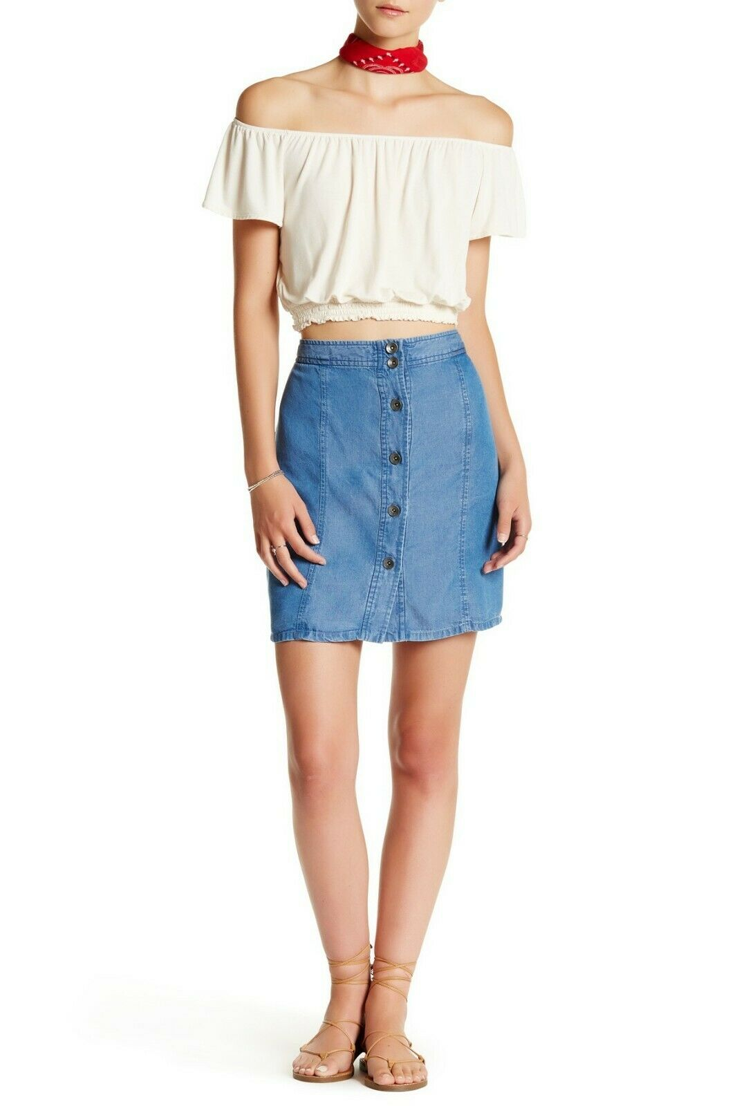 Splendid Button Up Mini Denim Skirt in Blau Woherren Größe Medium M MSRP