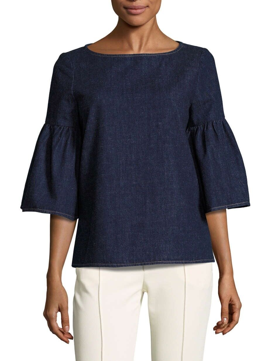 Suno Denim Trumpet Bell Flarot Sleeve Top Gilt Group NWT 2 Or Small