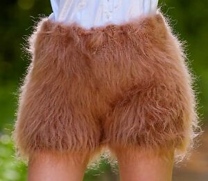 Made to order hand knitted shorts, thick and fuzzy mohair short pants in brown by SuperTanya