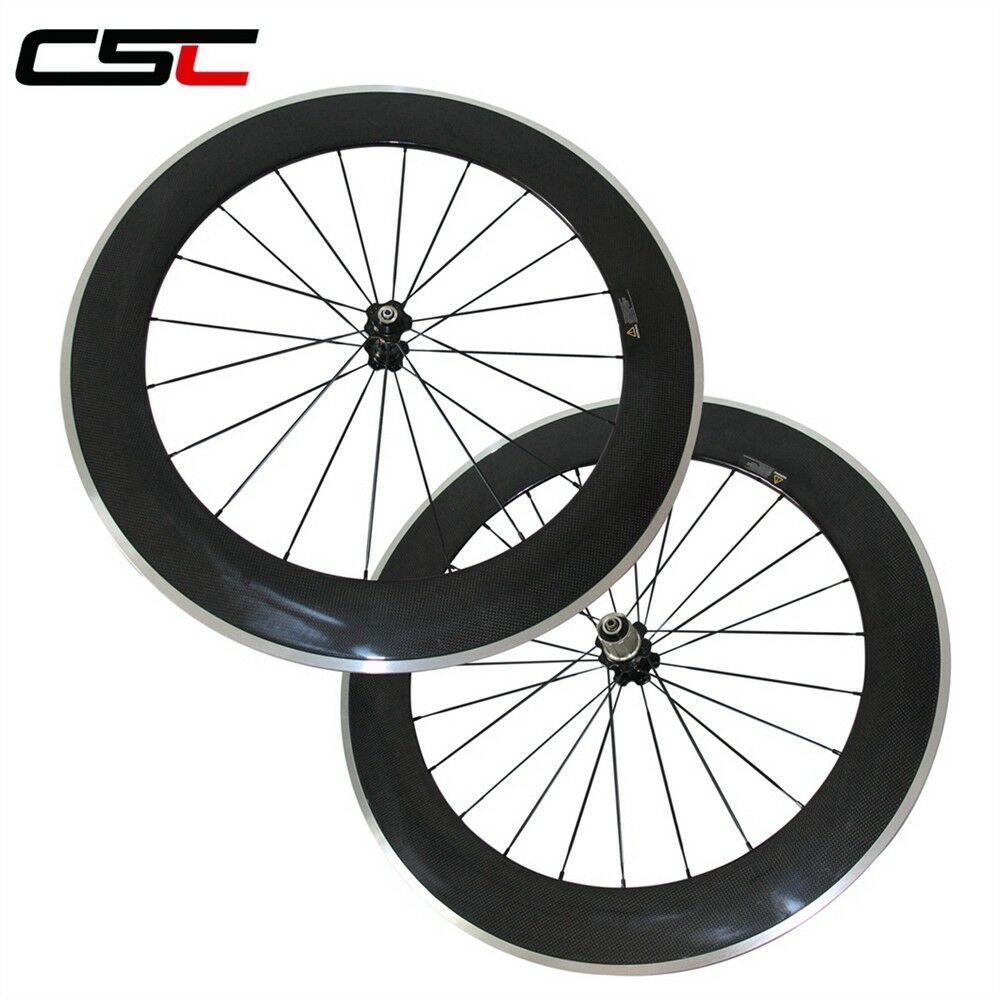 700C 23mm Width Carbon Road Cycling  Wheel 80mm Clincher Alloy Brake Surface  fitness retailer