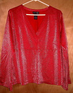 Venezia-Red-Sparkly-Top-Size-18-20-Fits-up-to-a-50-034-Bust-Ships-Free-in-the-USA