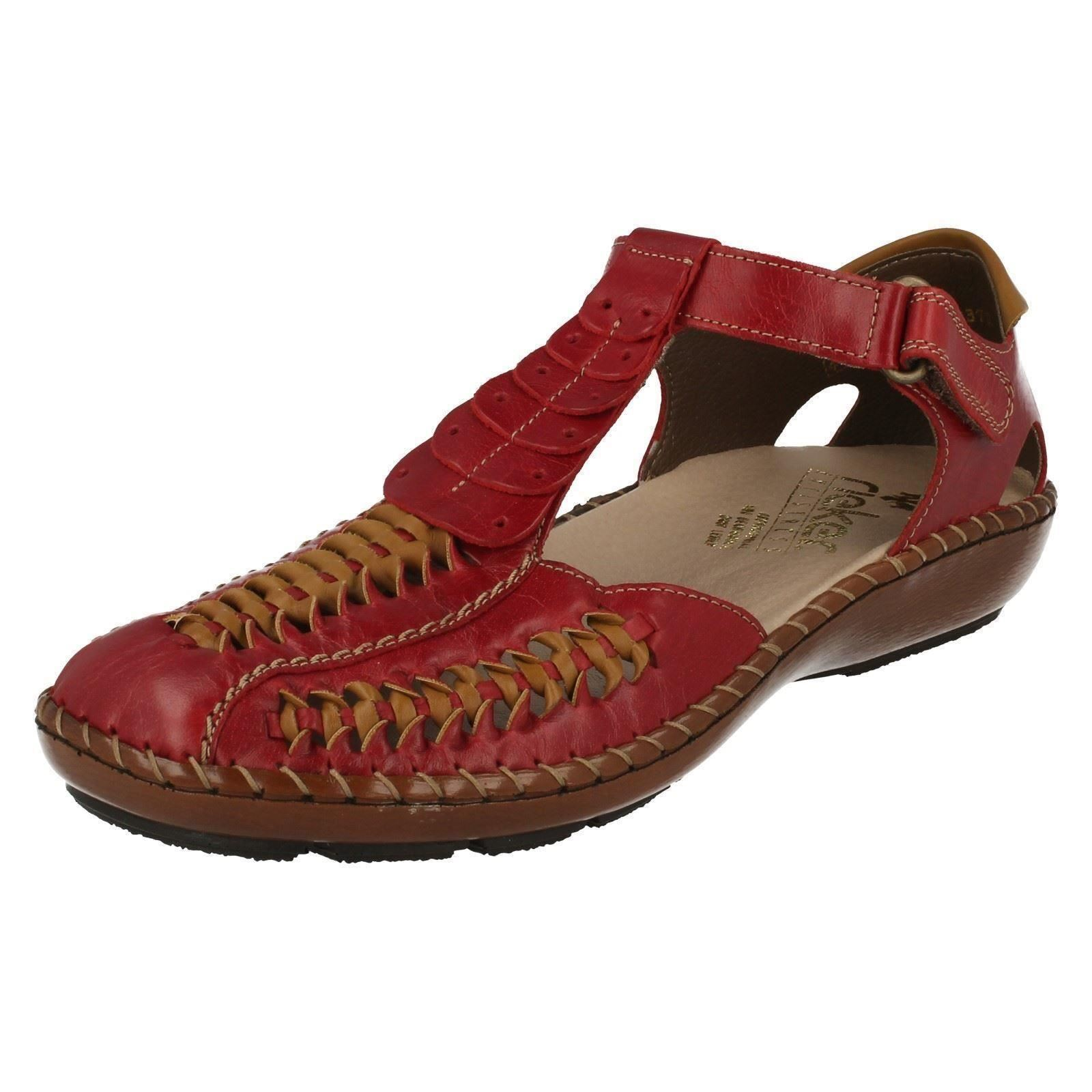 Último gran descuento Ladies Red Leather Riptape Closed Toe Rieker Sandals Shoes 44858