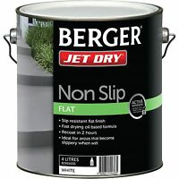 Berger Jet Dry Non Slip Flat Paint 4l, White, Fast Drying Oil Based Formula