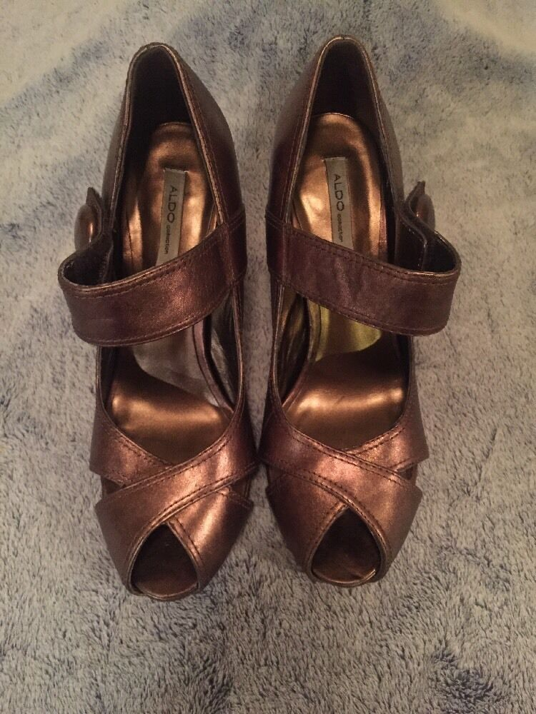 Aldo 39 Collection Bronze Heels Size 39 Aldo Peep Toe Brown 361483