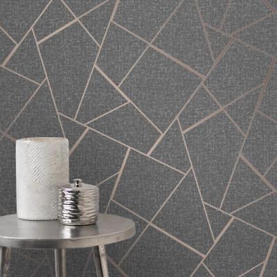 Quartz Charcoal Rose Gold Geometric Wallpaper Fractal Design Fd42283 Ebay