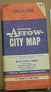 "Washington`  /""New Old Stock/"" 1970 ARCO Street Map of Spokane"