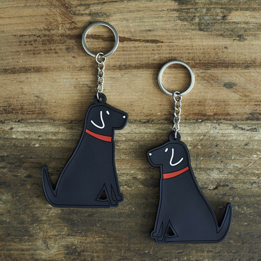 Cute BLACK LABRADOR Dog Keyring, Novelty Gift, PVC Key Ring, Bag Charm, FREE P&P