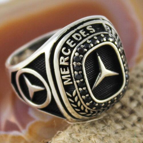 Plata esterlina 925 Negro Mercedes Benz Emblema Símbolo CZ Anillo de Hombre Todas Las Tallas