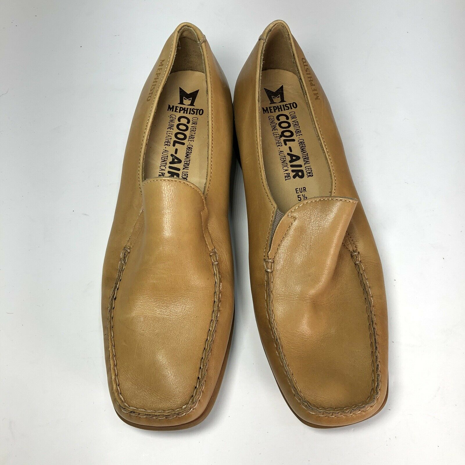 Mephisto Tan Leather Square Slip On Womens Flats … - image 2