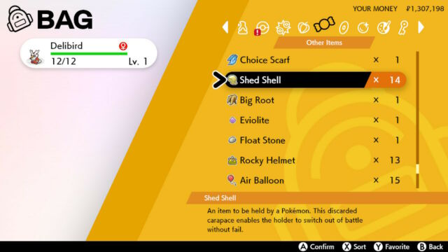 Pokemon Sword & Shield Shed Shell