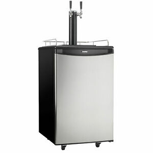 Danby-DKC054A1BSL2DB-5-4-Cubic-Foot-Steel-Double-Tap-Dual-Top-Beer-Kegerator