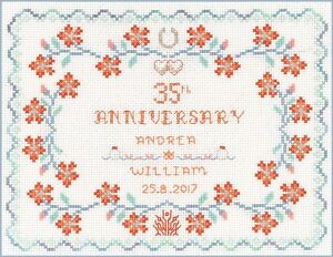 Coral-Wedding-Anniversary-Sampler-cross-stitch-kit-on-14-aida-with-colour-chart