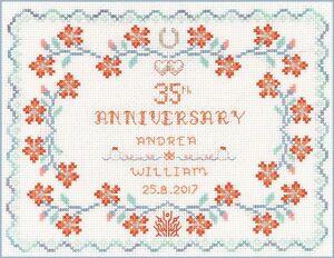 14 Anniversario Di Matrimonio.Coral Anniversario Di Matrimonio Campionatore Punto Croce Kit Su