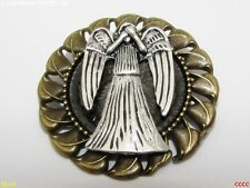 Steampunk jewellery badge brooch pin silver weeping angel Doctor Dr Who