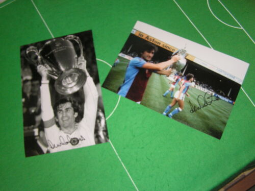 2 Dennis Mortimer Signed Aston Villa Photos 1981 Champions & 1982 European Cup