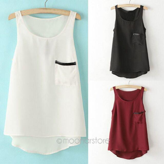 Casual Korean Fashion Womens Slim Chiffon Tops Sleeveless Shirt Blouse Vest Tank