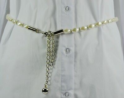 AU Girl Sliver Golden Chain Brilliant Pendant Pearl Waist Adjustable Belt 05