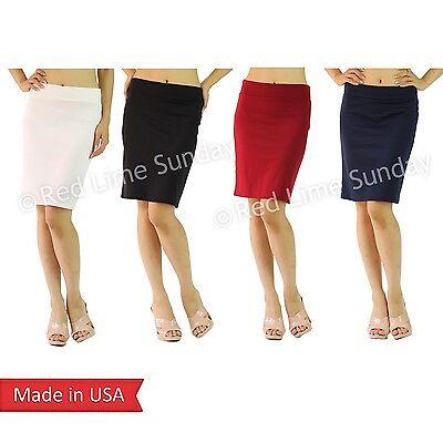 Womens Pencil Skirt Elastic Waist Black White Stripe Navy Yellow