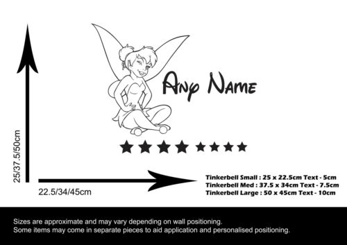TINKERBELL /&  NAME WALL STICKER CHILDRENS BEDROOM VINYL DECAL TRANSFER