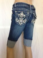 Miss Chic Jeans Women's Rhinestone Bermuda Shorts M398 Sz 3
