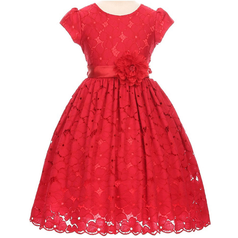 Red Flower Girl Dresses for Special Occasions Bridesmaid Birthday Party