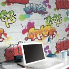 Multi Graffiti weiß Ziegel Tapete By Rasch 272901