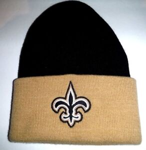 Image is loading New-Orleans-Saints-Authentic-Cuffed-Beanie-Toque-Knit- f53b32a91
