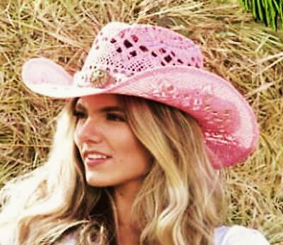 Bullhide Montecarlo Girl Next Door Painted Toyo Straw Western Hat Medium
