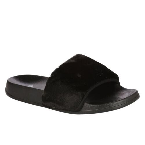 Femme curseurs enfiler fausse fourrure chaussures farrah caoutchouc mules dur pantoufles