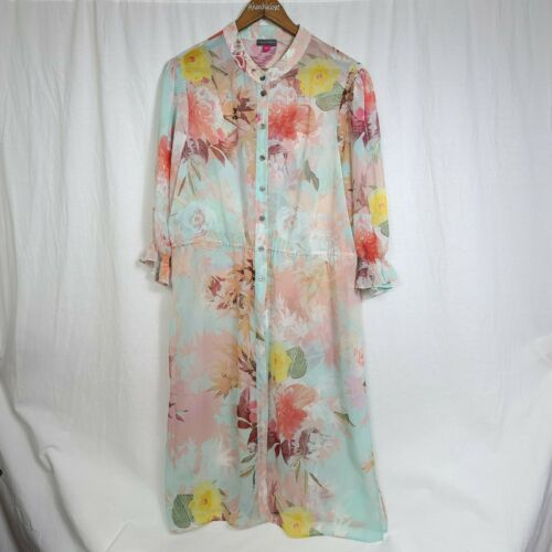 Vince Camuto Womens Tunic Top Floral Print Sheer L