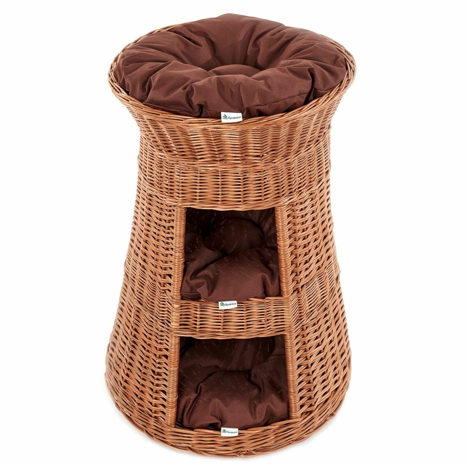 SUPERIOR tre livelli in vimini Cat Tower Letto Cesto House Organic Willow + CUSCINI