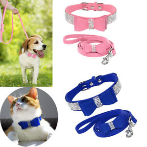 Cute-Rhinestone-Diamante-Dog-Collar-Suede-Leather-Bowknot-for-Cat-Girl-Pet
