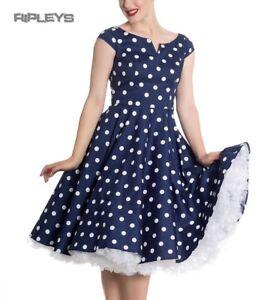 Hell-Bunny-50s-Dress-Polka-Dot-NICKY-Pin-Up-Rockabilly-Navy-Blue-All-Sizes