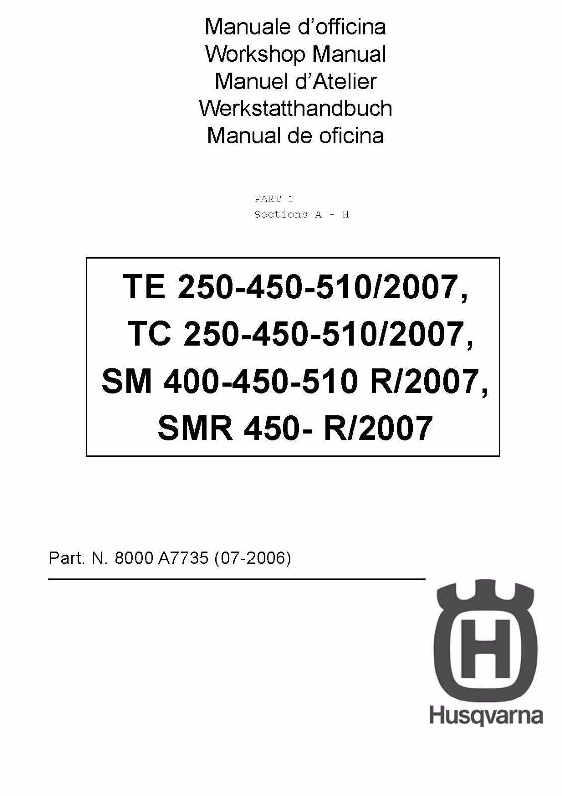husqvarna service workshop manual 2007 smr 450 r ebay rh ebay com Moto 125 1989 CR 125