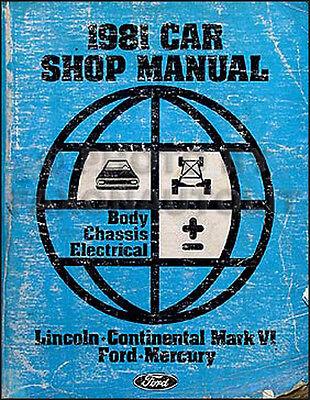 1981 Lincoln Town Car Mark Vi Manuale Di Negozio Body Telaio Elettrico