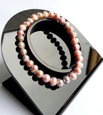 Bracelet Lithothérapie Perle de Culture Rose Bijoux en Pierre 100% Naturelle