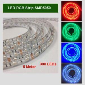 LED-Stripe-Streifen-RGB-SMD-5050-5M-60LED-M-IP65-Band-44-Tasten-Controller-12V