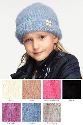 ScarvesMe Children Kids Girl Boy Ages 2-7 Knitted Chunky Thick Stretchy Solid Color Pom Pom Beanie