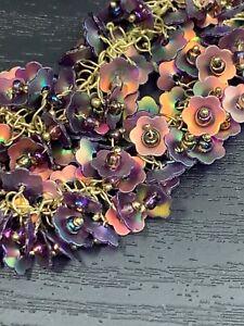 Vintage-Ladies-Statement-Necklace-Copper-Purple-Iridescent-Sequins-Dangle-18