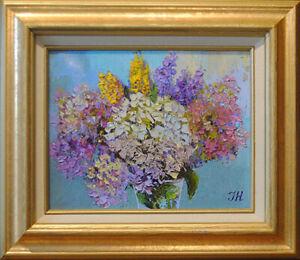 "Vanilla-strawberry hydrangea. Original framed oil on canvas 8""x10""   painting."