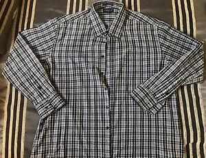 Omega-Italy-Dress-Long-Short-Sleeve-Button-Front-Shirt-Plaid-Blk-Mens-Size-XL