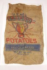 Trophy Potatoes Burlap Jute Gunny Sack McGiffin & Brand McAllen Texas Advertiser