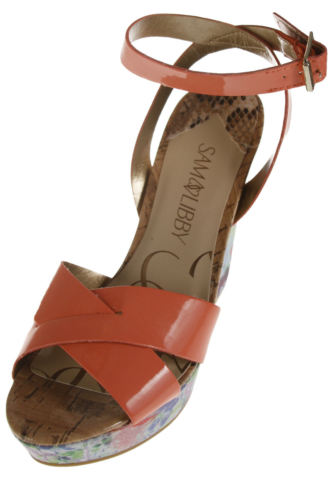 Sam & Libby Ankle Women's Kelly Wedge Heel Ankle Libby Strap Sandals - Coral Floral ba1279