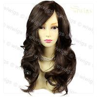 Wonderful wavy Long Dark Coffee Brown Curly Ladies Wigs skin top Hair WIWIGS UK