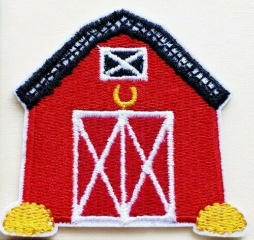 """Barn Patch Country Farm Red Embroidered Iron Sew On Applique Apx 2.75/"""" X 2.50/"""""""