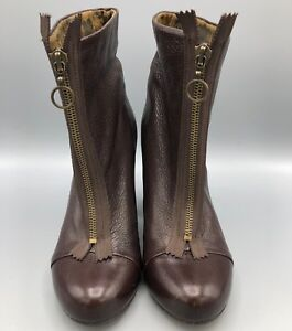 451296dd424 Fly London Fly Girl Ankle Boot Zip Front Brown Leather High Heel ...